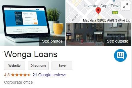 Wonga Google Profile